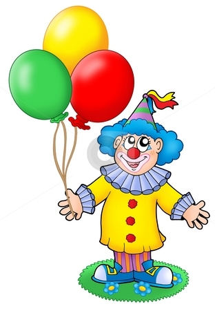 Cute clown with balloons stock photo, Cute clown with balloons - color illustration. by Klara Viskova