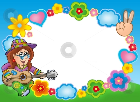 Round hippie frame with guitarist stock photo, Round hippie frame with guitarist - color illustration. by Klara Viskova