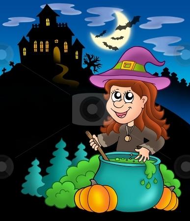 Wizard girl with haunted house stock photo, Wizard girl with haunted house - color illustration. by Klara Viskova