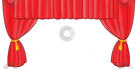 Red theatre curtain stock photo, Red theatre curtain - color illustration. by Klara Viskova