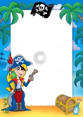 Frame with pirate woman 1 stock photo, Frame with pirate woman 1 - color illustration. by Klara Viskova