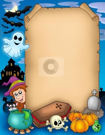 Halloween parchment 1 stock photo, Halloween parchment 1 - color illustration. by Klara Viskova