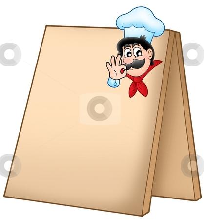 Menu board with cartoon chef stock photo, Menu board with cartoon chef - color illustration. by Klara Viskova