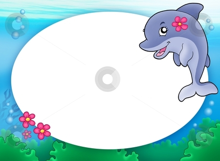 Round frame with dolphin girl stock photo, Round frame with dolphin girl - color illustration. by Klara Viskova