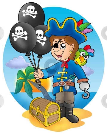 Pirate boy with balloons on beach stock photo, Pirate boy with balloons on beach - color illustration. by Klara Viskova