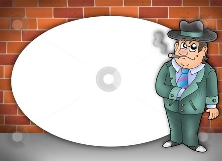 Round frame with cartoon gangster stock photo, Round frame with cartoon gangster - color illustration. by Klara Viskova