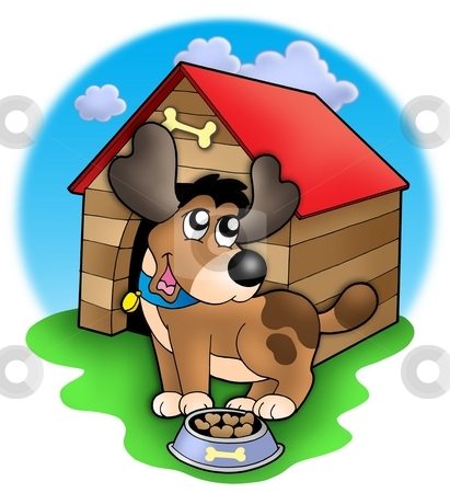 Cute dog in front of kennel stock photo, Cute dog in front of kennel - color illustration. by Klara Viskova