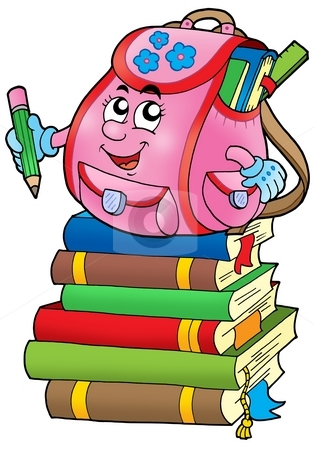 Pink school bag on books stock photo, Pink school bag on books - color illustration. by Klara Viskova