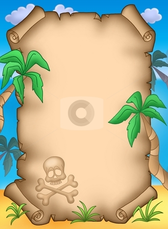 Pirate parchment with palms stock photo, Pirate parchment with palms - color illustration. by Klara Viskova