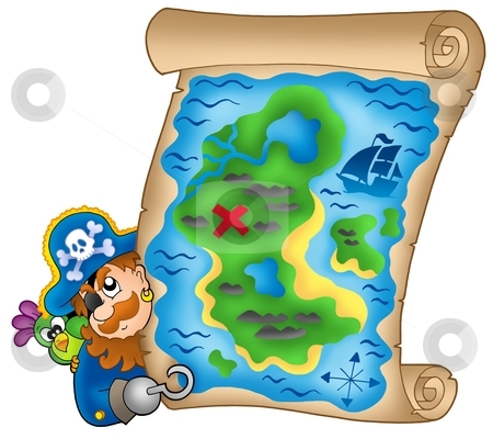 Treasure map with lurking pirate stock photo, Treasure map with lurking pirate - color illustration. by Klara Viskova