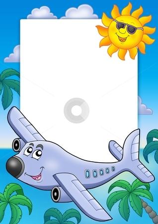 Frame with Sun and airplane stock photo, Frame with Sun and airplane - color illustration. by Klara Viskova