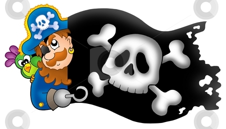 Lurking pirate with banner stock photo, Lurking pirate with banner - color illustration. by Klara Viskova