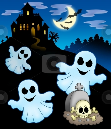 Ghosts with haunted house stock photo, Ghosts with haunted house - color illustration. by Klara Viskova