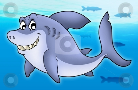 Smiling cartoon shark stock photo, Smiling cartoon shark - color illustration. by Klara Viskova