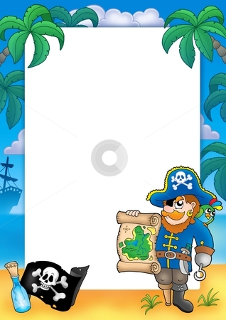 Frame with pirate 2 stock photo, Frame with pirate 2 - color illustration. by Klara Viskova