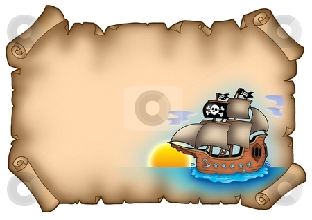 Ancient parchment with ship stock photo, Ancient parchment with ship - color illustration. by Klara Viskova