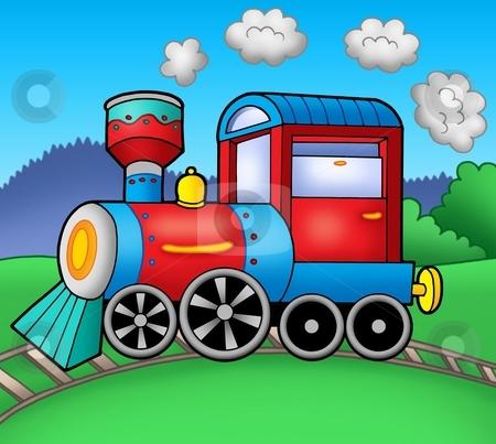 Steam locomotive on rails stock photo, Steam locomotive on rails - color illustration. by Klara Viskova