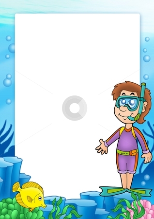 Frame with snorkel diver 2 stock photo, Frame with snorkel diver 2 - color illustration. by Klara Viskova