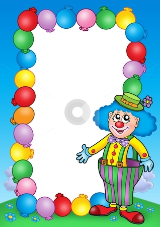 Party invitation frame with clown 7 stock photo, Party invitation frame with clown 7 - color illustration. by Klara Viskova