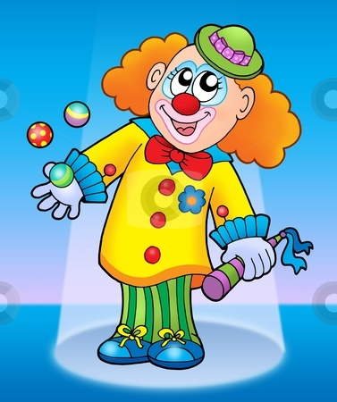 Cute happy clown stock photo, Cute happy clown - color illustration. by Klara Viskova
