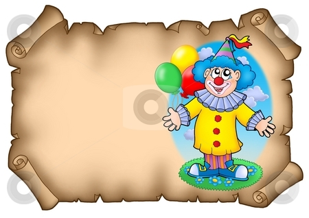Party invitation with clown stock photo, Party invitation with clown - color illustration. by Klara Viskova