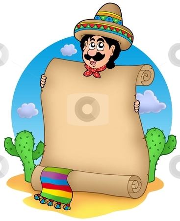 Mexican man with scroll in desert stock photo, Mexican man with scroll in desert - color illustration. by Klara Viskova