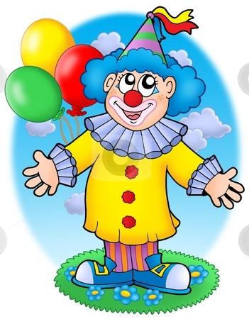 Smiling clown with balloons stock photo, Smiling clown with balloons - color illustration. by Klara Viskova