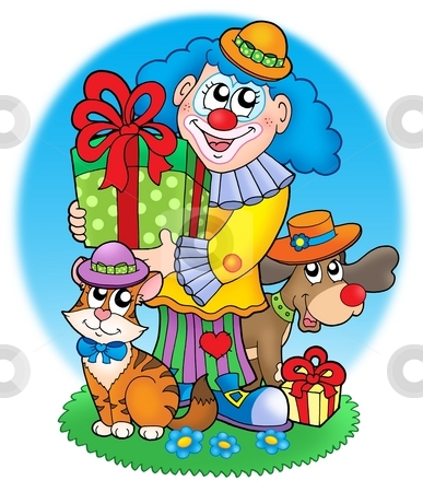 Circus clown with pets stock photo, Circus clown with pets - color illustration. by Klara Viskova