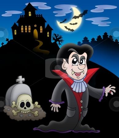 Vampire with haunted house stock photo, Vampire with haunted house - color illustration. by Klara Viskova