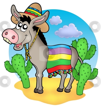Mexican donkey in desert stock photo, Mexican donkey in desert - color illustration. by Klara Viskova