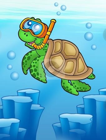 Sea turtle snorkel diver underwater stock photo, Sea turtle snorkel diver underwater - color illustration. by Klara Viskova