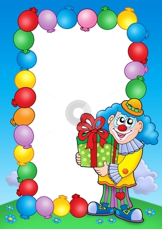 Party invitation frame with clown 5 stock photo, Party invitation frame with clown 5 - color illustration. by Klara Viskova