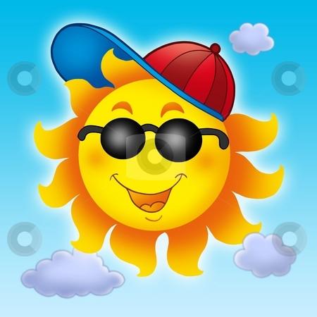 Cartoon Sun in cap on blue sky stock photo, Cartoon Sun in cap on blue sky - color illustration. by Klara Viskova