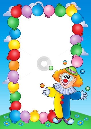 Party invitation frame with clown 4 stock photo, Party invitation frame with clown 4 - color illustration. by Klara Viskova