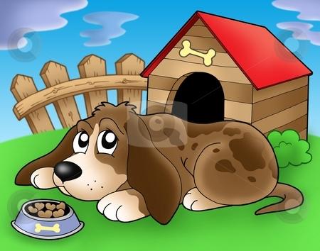 Sad dog in front of kennel 2 stock photo, Sad dog in front of kennel 2 - color illustration. by Klara Viskova