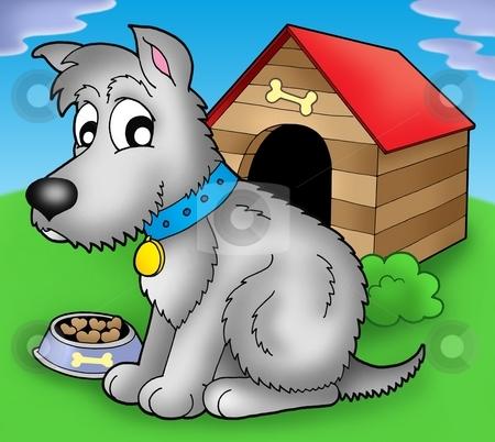 Grey dog in front of kennel stock photo, Grey dog in front of kennel - color illustration. by Klara Viskova
