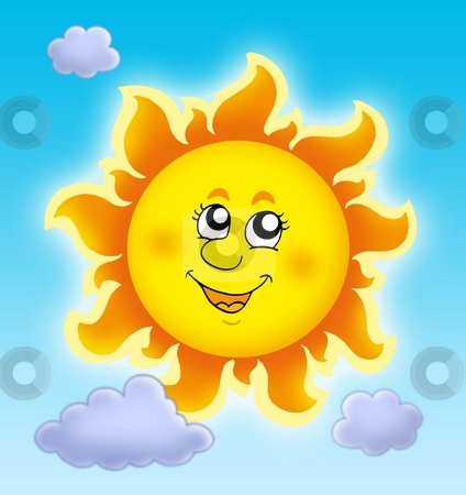 Cute summer Sun on blue sky stock photo, Cute summer Sun on blue sky - color illustration. by Klara Viskova