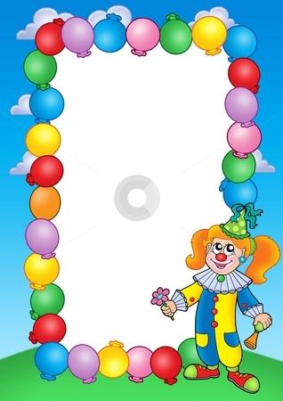 Party invitation frame with clown 1 stock photo, Party invitation frame with clown 1 - color illustration. by Klara Viskova