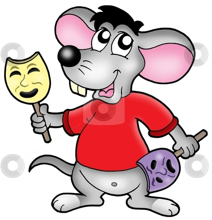 Caroon mouse actor stock photo, Cartoon mouse actor - color illustration. by Klara Viskova