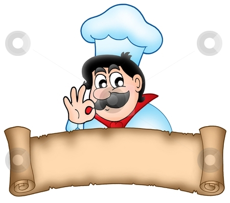 Banner with cartoon chef stock photo, Banner with cartoon chef - color illustration. by Klara Viskova