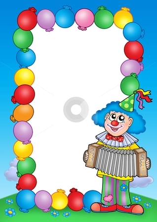 Party invitation frame with clown 6 stock photo, Party invitation frame with clown 6 - color illustration. by Klara Viskova