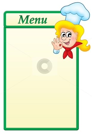 Menu template with cartoon chef woman stock photo, Menu  template with cartoon chef woman - color illustration. by Klara Viskova
