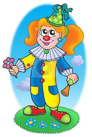 Cartoon clown girl on meadow stock photo, Cartoon clown girl on meadow - color illustration. by Klara Viskova