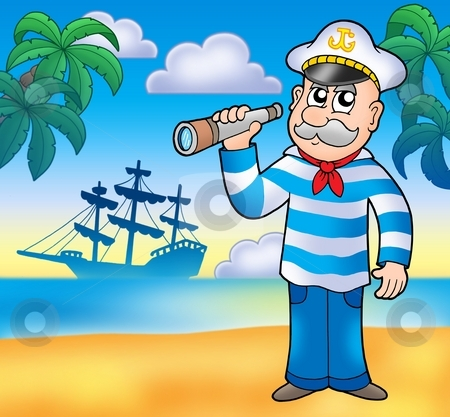 Sailor with spyglass on beach stock photo, Sailor with spyglass on beach - color illustration. by Klara Viskova