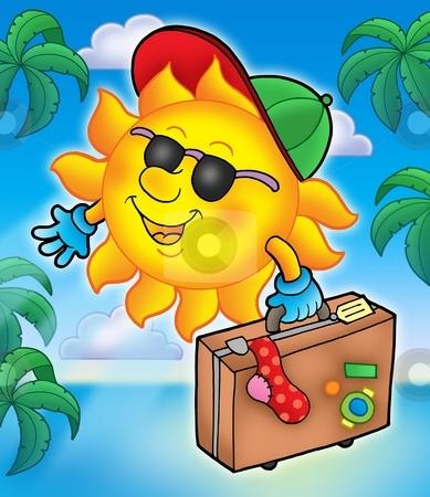 Sun traveller with palms stock photo, Sun traveller with palms - color illustration. by Klara Viskova
