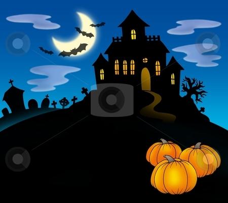 Haunted house with pumpkins stock photo, Haunted house with pumpkins - color illustration. by Klara Viskova