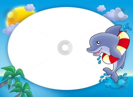 Round frame with jumping dolphin stock photo, Round frame with jumping dolphin - color illustration. by Klara Viskova