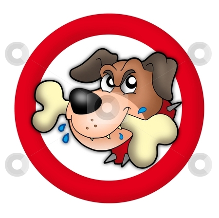 Red circle with angry dog stock photo, Red circle with angry dog - color illustration. by Klara Viskova