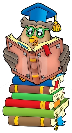 Reading owl teacher on books stock photo, Reading owl teacher on books - color illustration. by Klara Viskova
