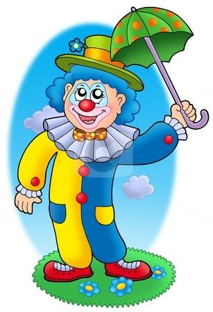 Cartoon clown holding umbrella stock photo, Cartoon clown holding umbrella - color illustration. by Klara Viskova